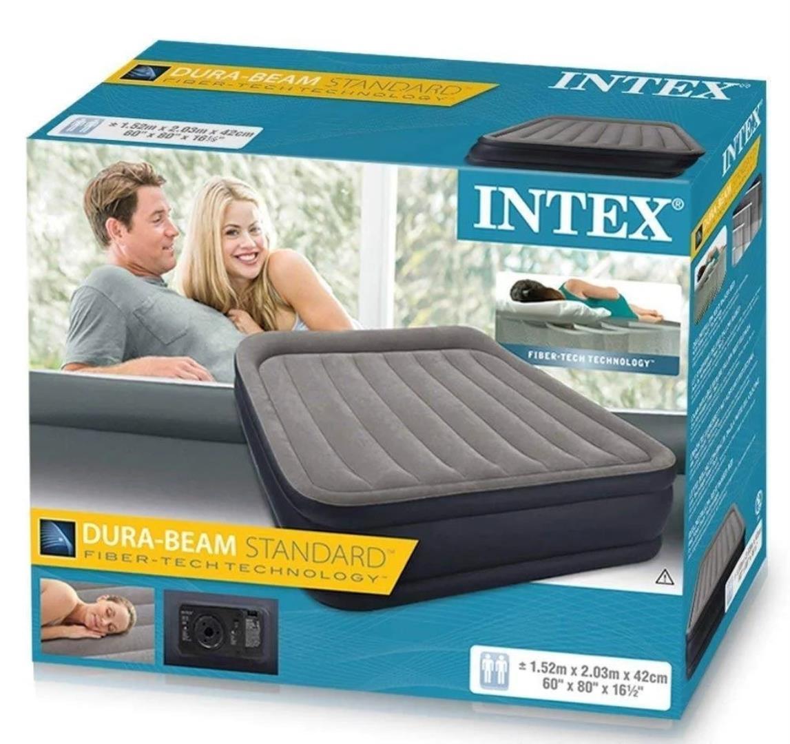 Надувная кровать Intex Dura Beam Standart 64136 со встроенным электронасосом (203х152х42 см)