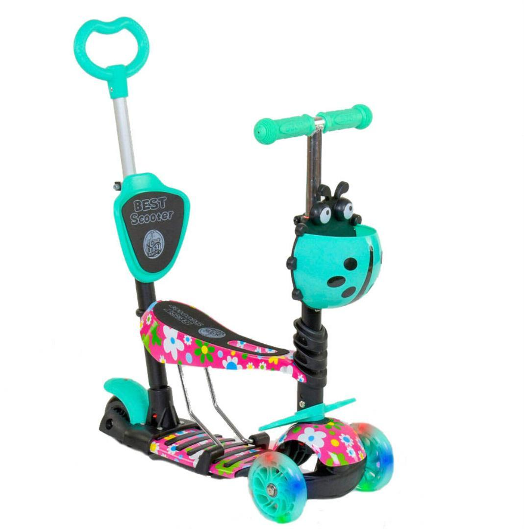 Детский самокат 5в1 Best Scooter 43702 c рисунком и светящимися колёсами