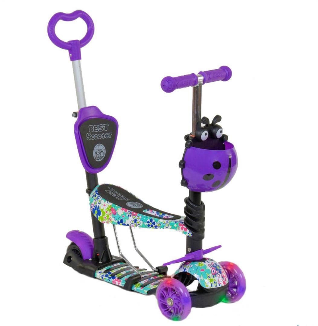 Детский самокат 5в1 Best Scooter 68995 c рисунком и светящимися колёсами