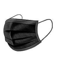 Упаковка 100 шт Чёрная защитная одноразовая маска Паянная с фиксатором для носа