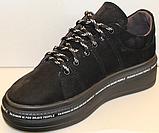 Кроссовки женские черные замшевые от производителя модель ЛИ7, фото 3