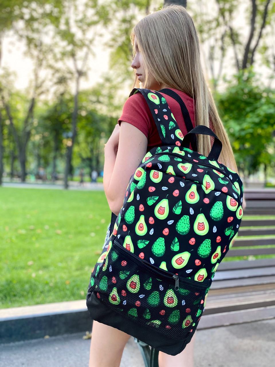 Рюкзак Avocado Женский / Мужской Городской для ноутбука черный с зеленым Intruder