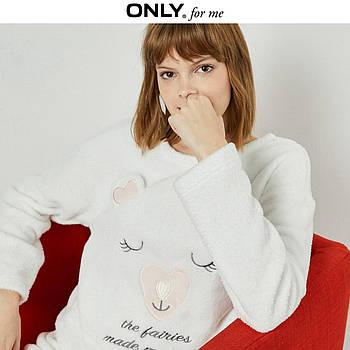 Кофта толстовка женская теплая для дома. Лонгслив, пуловер домашний флисовый Мишка, размер  L (белый)