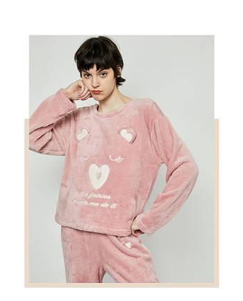 Кофта толстовка женская теплая для дома. Лонгслив, пуловер домашний флисовый Мишка, размер  S (розовый)