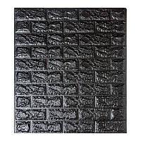 Самоклеящаяся декоративная 3D панель под черный кирпич 700x770x5мм (самоклейка, Мягкие 3D Панели)
