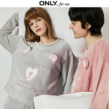 Кофта толстовка женская теплая для дома. Лонгслив, пуловер домашний флисовый Мишка, размер  S (серый)
