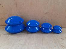 Банки силиконовые синие для вакуумного массажа  набор 4  шт без упаковки