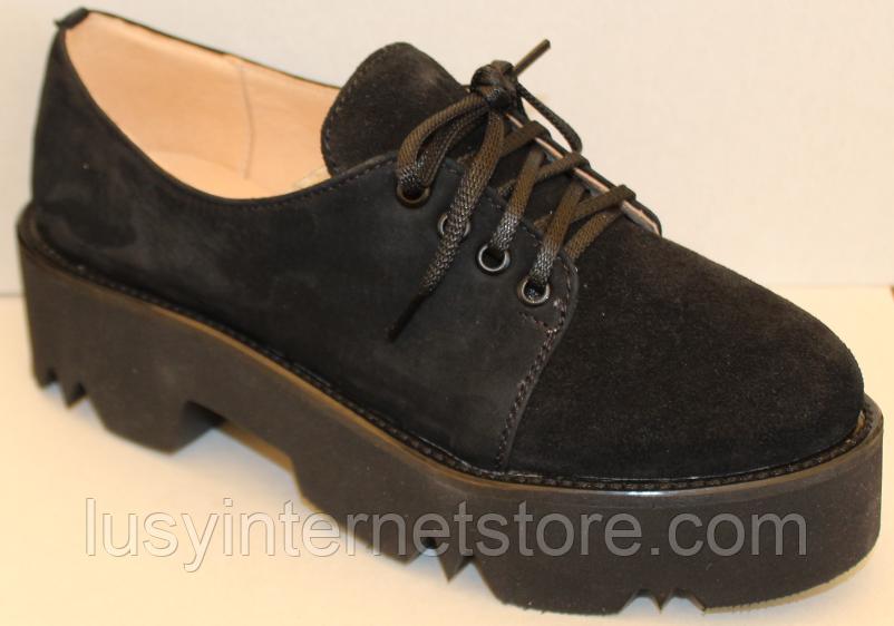 Туфли замшевые женские на шнурках от производителя модель ЛИ10
