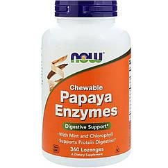 Пищеварительные Ферменты Папаи, Papaya Enzymes, NOW, 360 леденцов