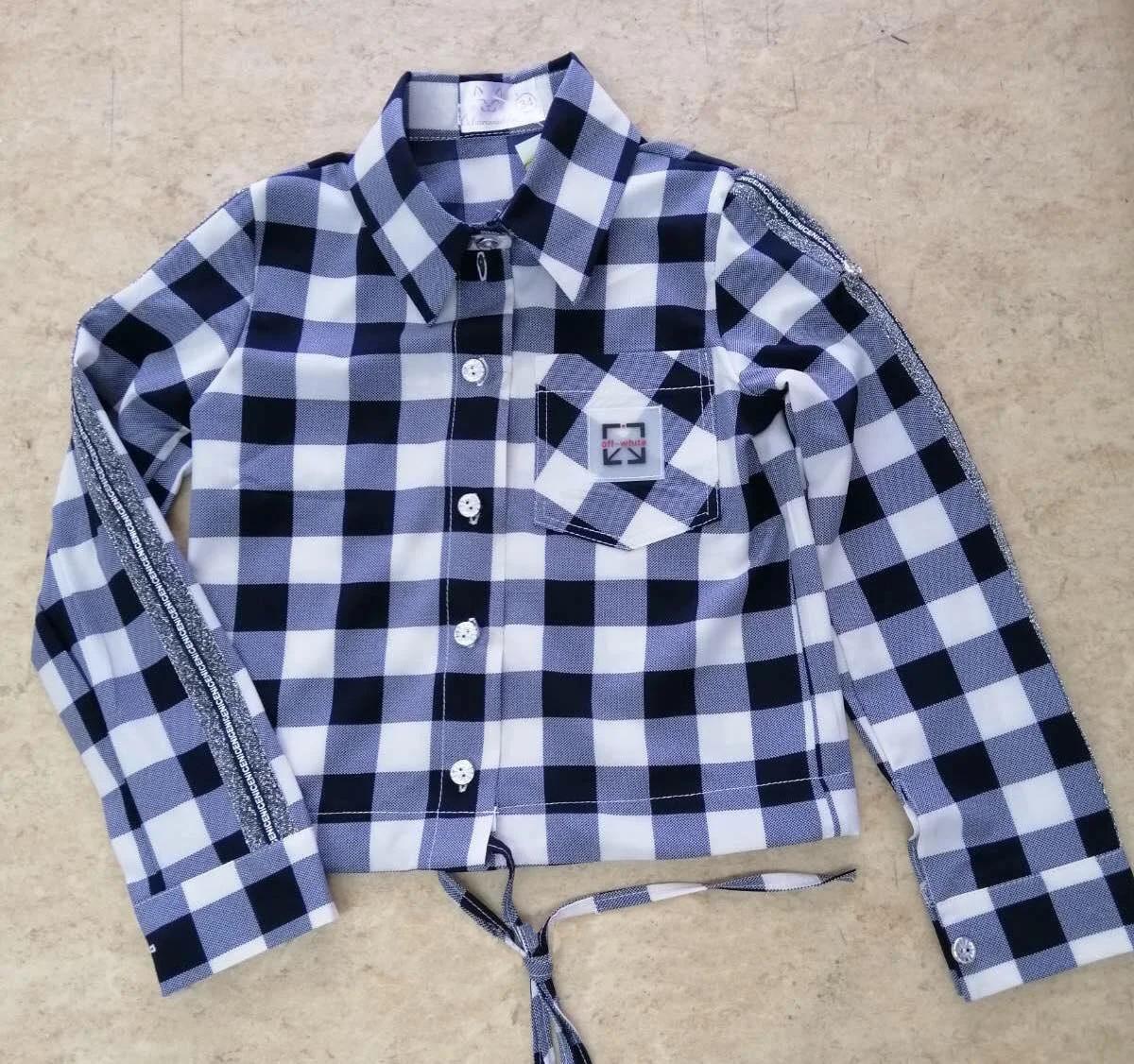 Рубашка в клетку с длинным рукавом на девочку последний размер 152