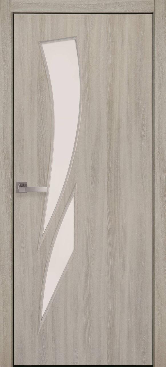 Двери межкомнатные Новый Стиль Камея Экошпон стекло сатин 2000х700 Ясень Патина