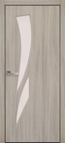 Двери межкомнатные Новый Стиль Камея Экошпон стекло сатин 2000х700 Ясень Патина, фото 2