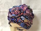 Летняя разноцветная   бандана-шапка-косынка-чалма-тюрбан с розочкой, фото 7