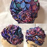 Летняя разноцветная   бандана-шапка-косынка-чалма-тюрбан с розочкой, фото 5