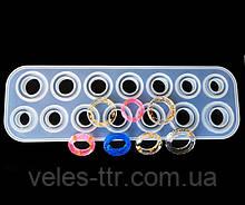 Молд силиконовый Кольца выпуклые и граненые 14 форм размер 17- 23 25х8,3х1,2 см форма для заливки