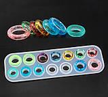 Молд силиконовый Кольца выпуклые и граненые 14 форм размер 17- 23 25х8,3х1,2 см форма для заливки, фото 5