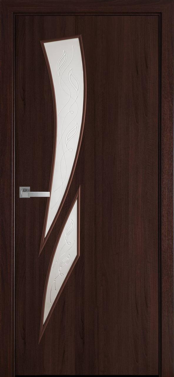 Двери межкомнатные Новый Стиль Камея Экошпон стекло сатин 2000х700 Каштан