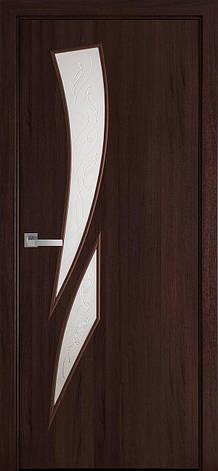 Двери межкомнатные Новый Стиль Камея Экошпон стекло сатин 2000х700 Каштан, фото 2