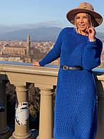 Женское вязаное платья миди. Женское яркое платья осень-весна бежевый