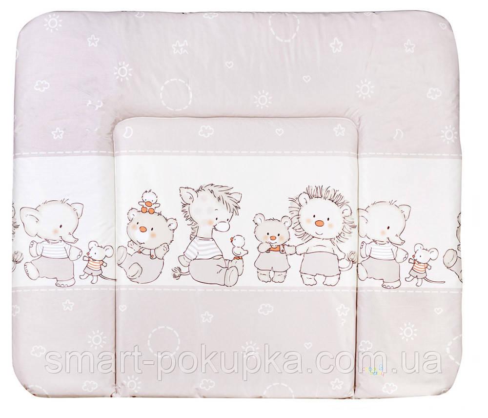 Пеленальный матрас Ceba Baby WD 85*70 multi  мишка,утка,ослик,ежик,слон,мышка капучино