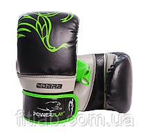 Снарядные перчатки, битки PowerPlay 3038 черно-зеленые M
