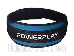 Пояс для важкої атлетики PowerPlay 5545 Синьо-Чорній (Неопрен) L