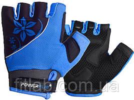 Велоперчатки женские PowerPlay 5281 B Голубые XS