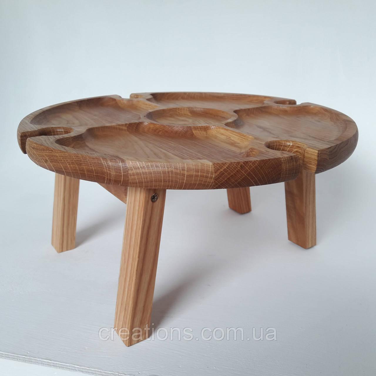 Столик для вина из дуба - менажница на ножках из дерева 35х35х18 см. НМ-144