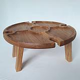 Столик для вина из дуба - менажница на ножках из дерева 35х35х18 см. НМ-144, фото 2