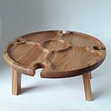 Столик для вина из дуба - менажница на ножках из дерева 35х35х18 см. НМ-144, фото 3