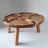 Столик для вина из дуба - менажница на ножках из дерева 35х35х18 см. НМ-144, фото 5