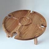 Столик для вина из дуба - менажница на ножках из дерева 35х35х18 см. НМ-144, фото 7