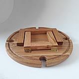 Столик для вина из дуба - менажница на ножках из дерева 35х35х18 см. НМ-144, фото 8