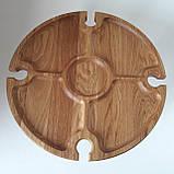 Столик для вина из дуба - менажница на ножках из дерева 35х35х18 см. НМ-144, фото 9