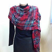 Тёплый шарф палантин в клетку легкая жатка цвет красный с бирюзовым