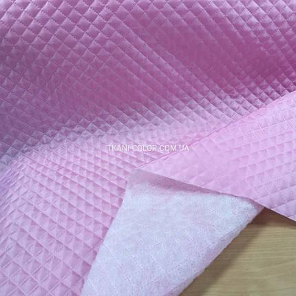 Подкладка стеганная на синтапоне, паянка розовая, фото 2