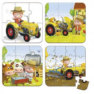 Набір з 4 пазлів Janod Пітер та його трактор (J02886), фото 2