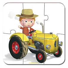 Набір з 4 пазлів Janod Пітер та його трактор (J02886), фото 3