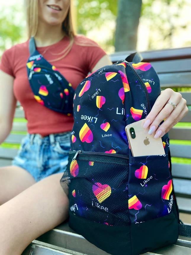 Рюкзак + Бананка Likee Чоловіча   Жіноча   Дитяча лайк синя комплект, фото 2