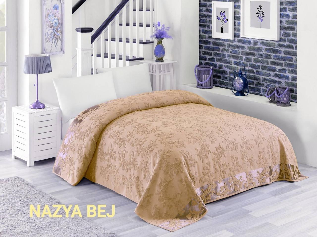 Махровая хлопковая жаккардовая простынь Zeron 200х220 Евро Турция NAZYA BEJ Бежевый