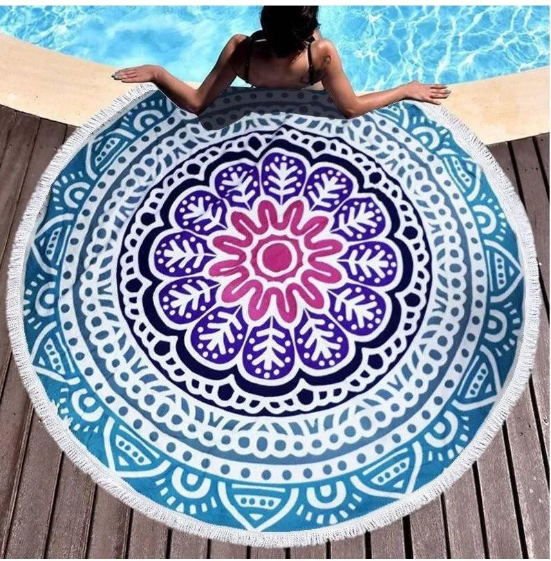 Пляжное круглое полотенце коврик с бахромой 150см микрофибра Мандала