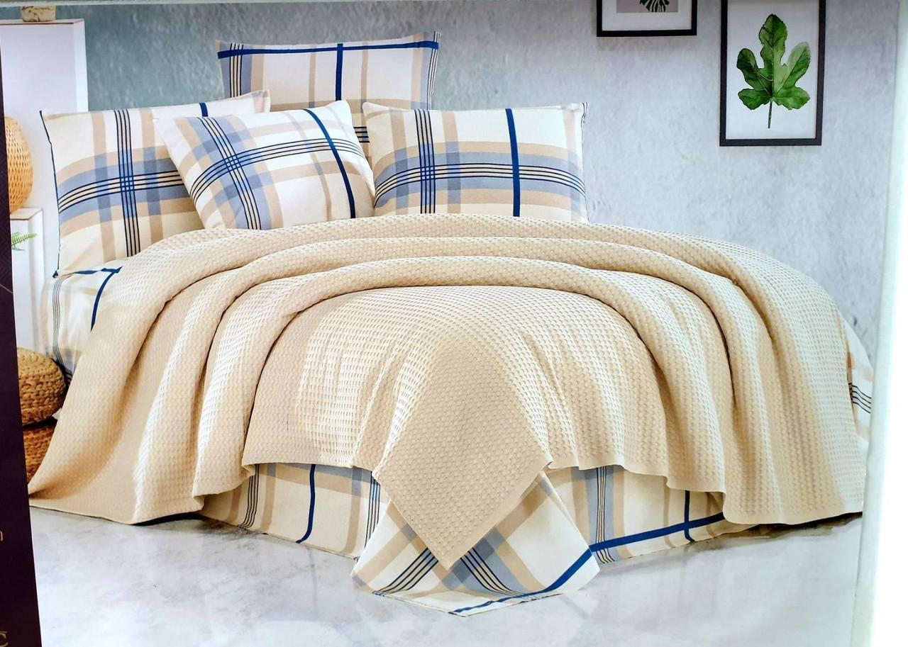Турецкое постельное белье с вафельным покрывалом Пике Евро 220х240 Ранфорс Wood Бежевый