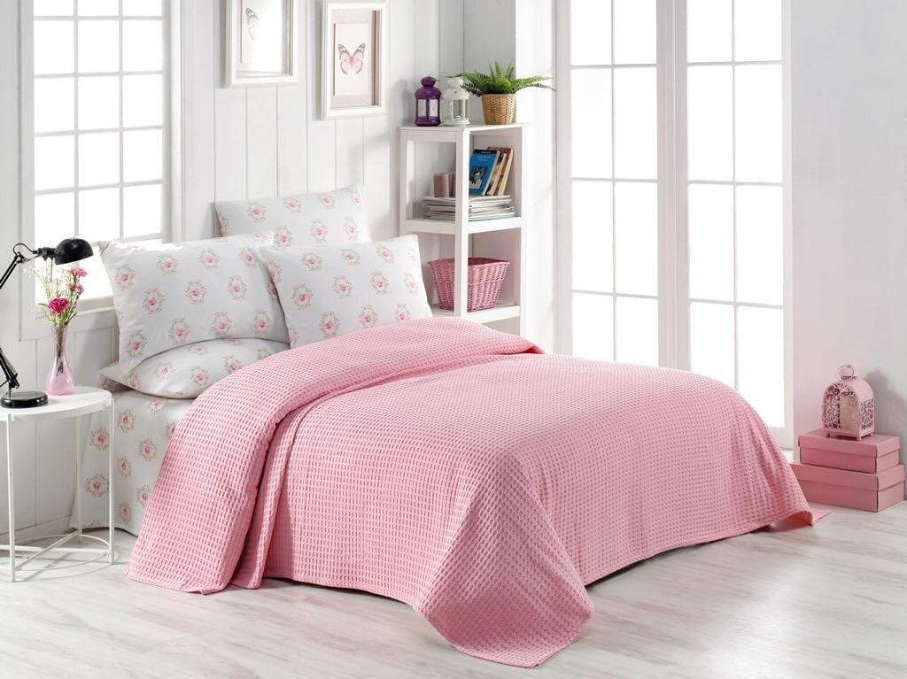 Турецкое постельное белье с вафельным покрывалом Пике Евро 220х240 Ранфорс Nisa Розовый