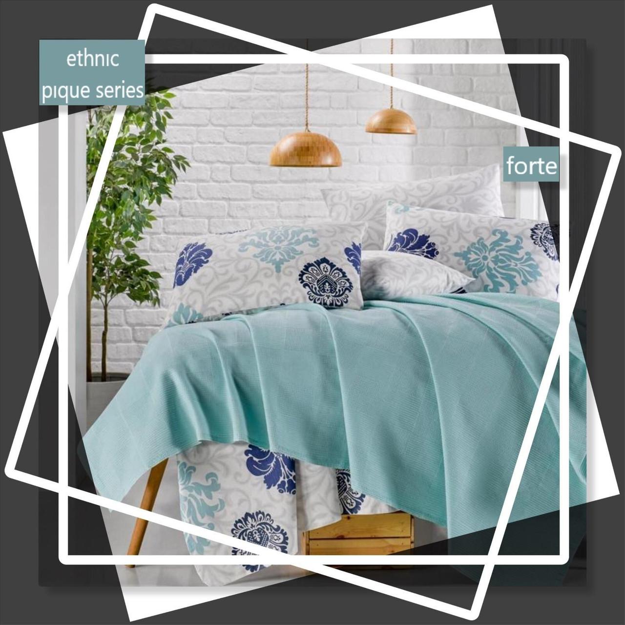 Турецкое постельное белье с вафельным покрывалом Пике Евро 220х240 Ранфорс Forte Голубой