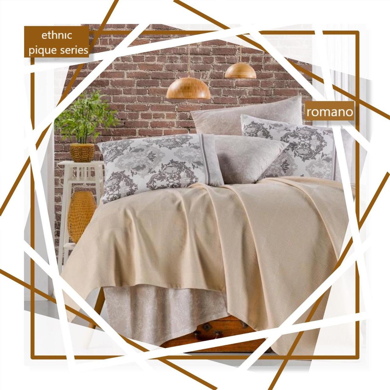 Турецкое постельное белье с вафельным покрывалом Пике Евро 220х240 Ранфорс Romano Бежевый
