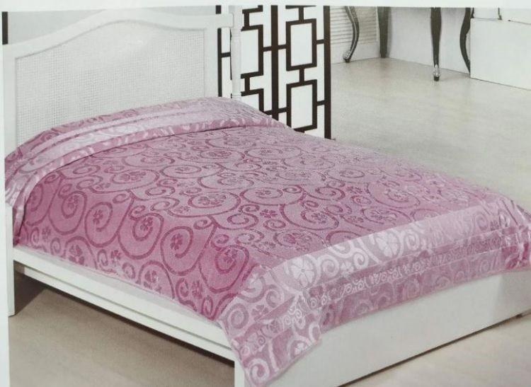 Велюровая простынь покрывало натуральный бамбук Евро 200х220 Турция Розовый
