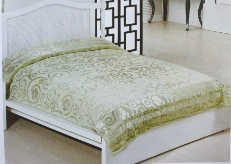 Велюровая простынь покрывало натуральный бамбук Евро 200х220 Турция Зеленый