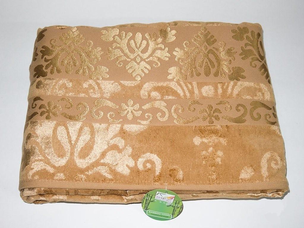 Велюровая простынь покрывало натуральный бамбук Евро 200х220 Турция Золотистый