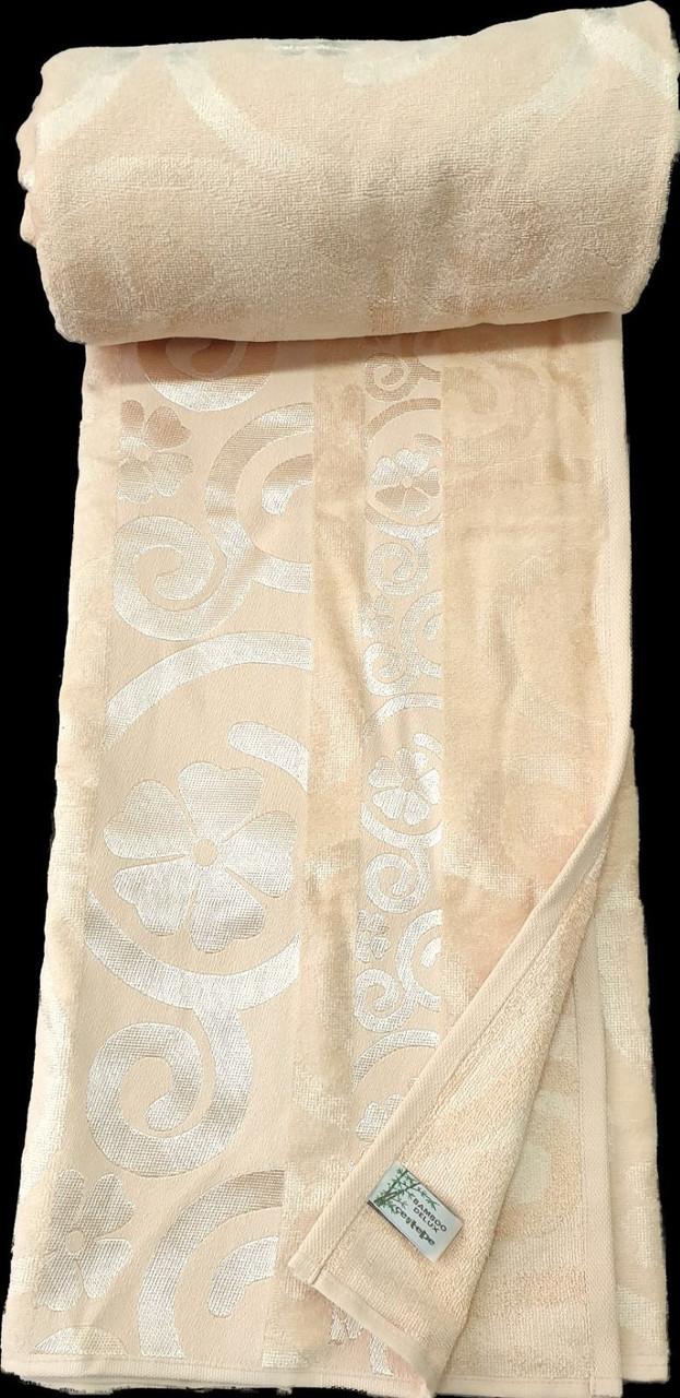 Велюровая простынь покрывало натуральный бамбук Евро 200х220 Турция Бежевый