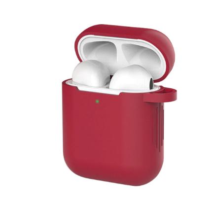 Чехол для наушников Apple Airpods и TWS i10 i12 i13 Silicone Case Цвет Бордовый (Марсала)